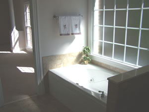master bath with large  spa tub